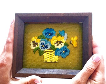 Vintage 1970s Framed Embroidered Pansy Wall Decor Crewelwork Crewel