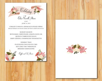 Floral Banner Reception Menu 50qty, Dinner Wedding Menu, Personalized Wedding Table Setting Custom Designed