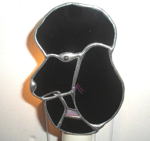 LT Stained glass black Poodle night light lamp solid black opal glass and pink blue mix opal glass collar