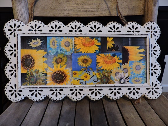 Vintage Sunflower Wall Decor : Items similar to wall hanging picture home decor
