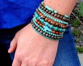 Boho Stack Bracelet Multi Stack Bracelet Set  Beach Jewelry Cross Bracelet Small Wood Bracelet Stretch Bracelet Turquoise Bohemian Jewelry