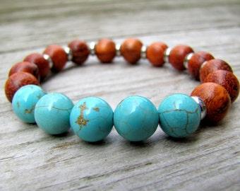 Yoga Bracelet Wood Bracelet Turquoise Bracelet Casual Jewelry Beach Jewelry Mala Bracelet Boho Jewelry Yoga Jewelry Everyday Jewelry