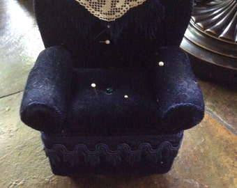 Vintage Chair pincushion blue crushed velvet pincushion on feet with straight pins darling collector