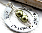 peas in a pod,Two Peas In A Pod Jewelry,  Hand Stamped Washer Necklace,  Mothers Necklace