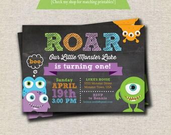 Monster Invitation - chalkboard | Monster Invite | Monster Birthday Invitation | Monster Bash | Monster Birthday Invite Party | Printable