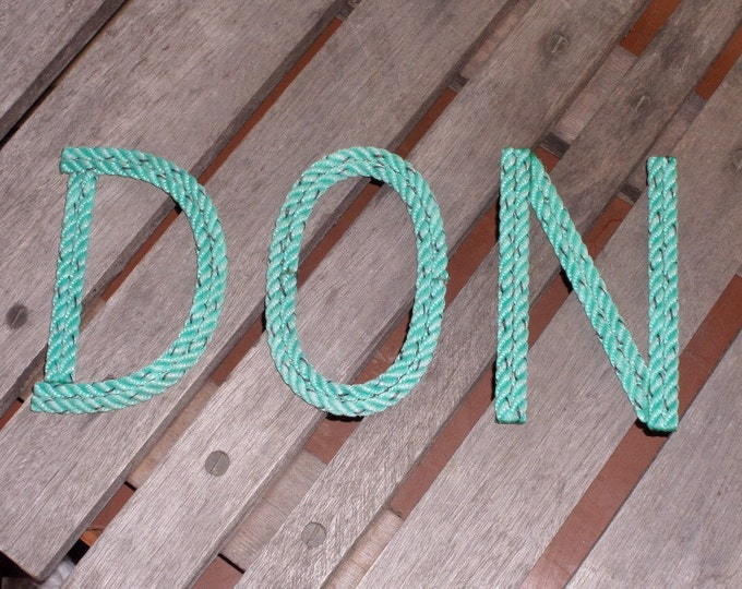 8 INCH Rope Letters Custom Upcycled Rope Nautical Decor Great For Nursery or Weddings Nautical Nursery Green or Natural Rope