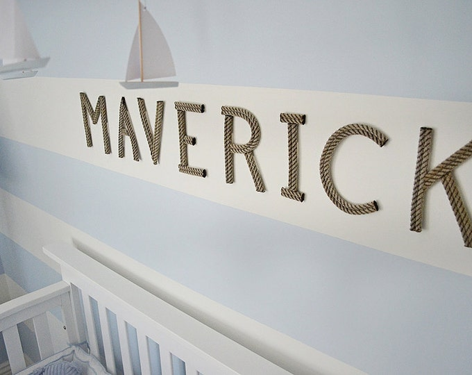 """6"""" Rope Letters Personalize for Nautical Nursery  Wedding Alphabet Nautical Decor Text Letters Natural or Green Rope"""