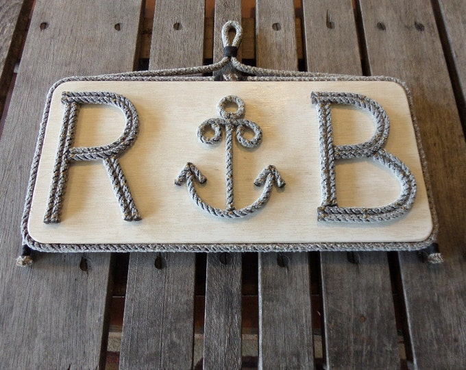 Nautical Decor Rope Anchor on Reclaimed Wood Distressed Customize Your Sign Coastal Beach Marine Navy Knots