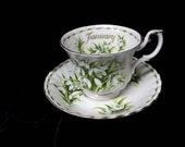 "Royal Albert ""Snowdrops"" Flower of the Month Series Cup and  Saucer January"