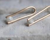 White Sapphire Long Arc Earrings | 14k Gold Fill