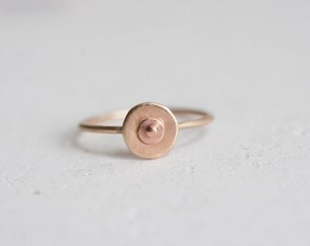 Boob Ring Solid 14k Recycled Yellow + Rose Gold | Breast Cancer Awareness | Feminism