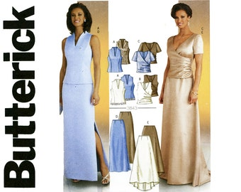 Evening Dress Pattern Uncut Butterick 3843 Maxi Skirt, Chapel Sweep Train and Top Wedding Bridal Prom Two Piece Dress Womens Sewing Patterns