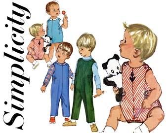 Toddlers Romper Pattern Uncut Simplicity 6157 Kids Overalls Jumpsuit Playsuit Sunsuit Shirt Shorts 1960s Childrens Vintage Sewing Patterns