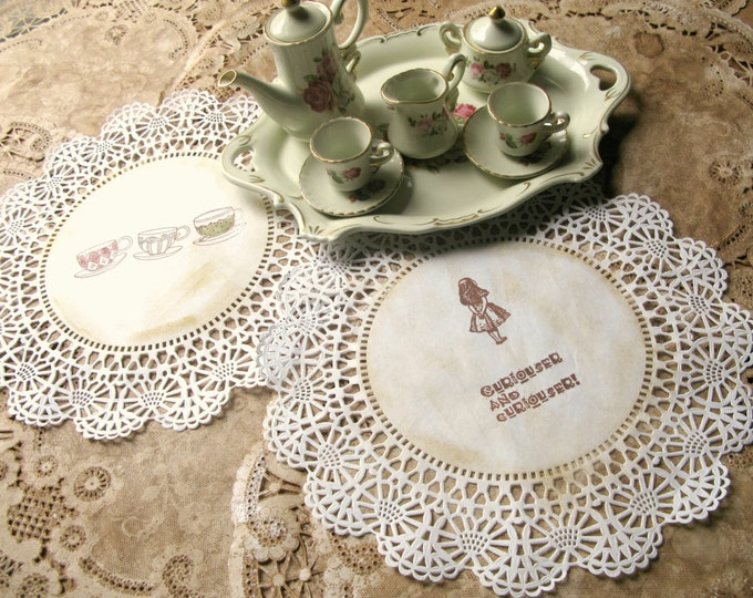"Alice Paper Doilies, 10"" Mad Tea Party Decor, Party Place Setting, Hand Stamped, Aged, Vintage Style Alice in Wonderland - set of 10"