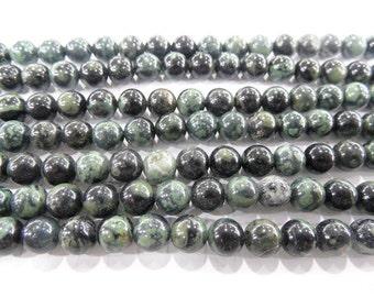 "Bird Stone Polar Jade Genuine Natural  6mm  - 8mm Round Loose Beads Jewelry Making Semiprecious Gemstone 15""L Bead"