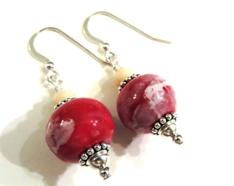 Red & Tan Ceramic Earrings With Chinese Crystals, Tan Earrings, Red Earrings, Red Ceramic Earrings