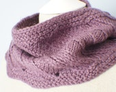 Wool Knitted Infinity Scarf - Short Wool Infinity Scarf - Purple Infinity Scarf - Dark Purple Crochet Infinity Scarf - Short Infinity Scarf