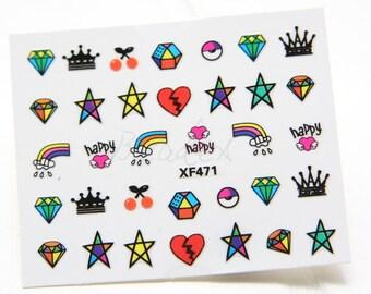 One Sheet of Mixed Diamond Nail Stickers / Nail Art  (471//M512)