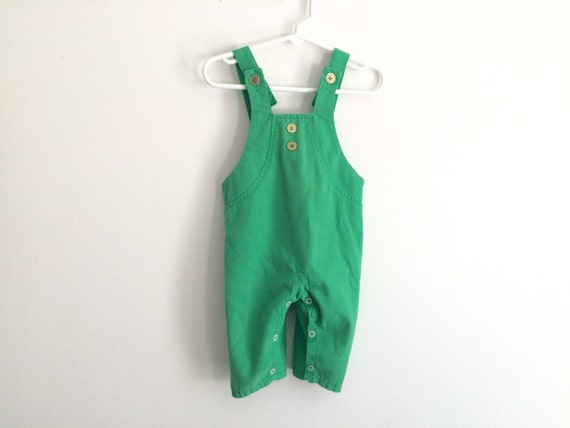 1970s Baby Boys Kelly Green Overalls Suspenders Romper
