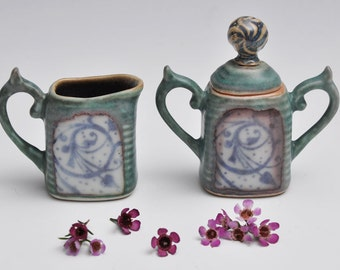 Flower Porcelain Ceramic Cream and Sugar Set / Green and Blue