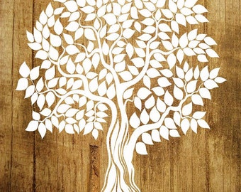 """Guest Book Tree,  Wood Wedding Tree Poster, 20"""" x 30"""" - Up to 200 Signatures, Guest Book Alternative"""