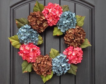 Fall Hydrangea Wreath Summer Wreath Grapevine Door Wreath Pink Turquoise Brown Hydrangea Floral Door Decoration Indoor Outdoor Decor