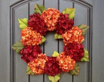Hydrangea Wreath Autumn Summer Fall Wreath Grapevine Door Wreath Orange Red Hydrangea Floral Door Decoration Indoor Outdoor