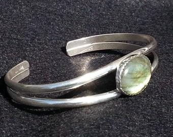 Labradorite Bracelet,  Sterling Silver Labradorite Cuff Bracelet
