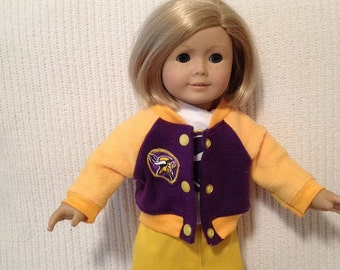 18 inch doll and 15 inch doll (modeled by American Girl) Vikings Fleece Jacket