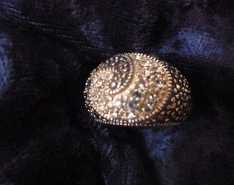 Vintage ring, marcasite and cz,sterling,  Dome style swirl, sz 7