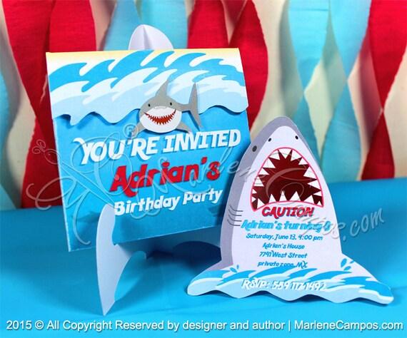 Shark Invitation Printable Birthday Party