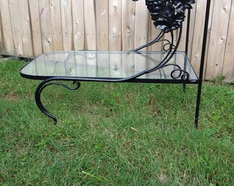 Gorgeous Salterini Black Wrought Iron Side Table Grapes 2 Tiers