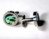 Green Sunset Moth Cuff Links, Wedding Cufflinks, Men's Cuff Links, Real Moth Wing Cuff Links