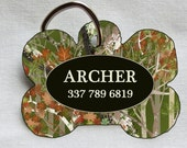 Custom Pet ID Tag - Bone - Camo and Army Green - Pet Safety