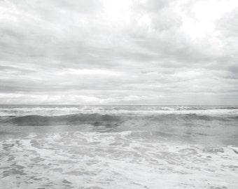 Ocean Photograph, Black and White Ocean print, White Grey Ocean, Coastal Shore, Gray Monotone Ocean Seaside print 8x12 and up