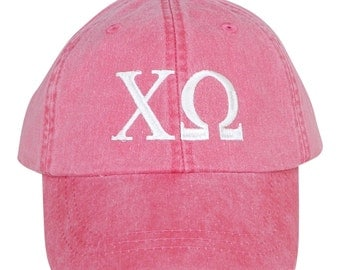 Chi Omega baseball cap with embroidered greek letters