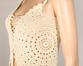 Crochet halter top Beach cover up Gypsy top Festival clothing Boho chic Corset Style