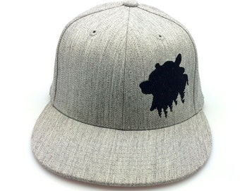 Mens Cap - Grizzly Bear Above Tree Line - Men's Embroidered Hat - Fitted and Snapback Options Available