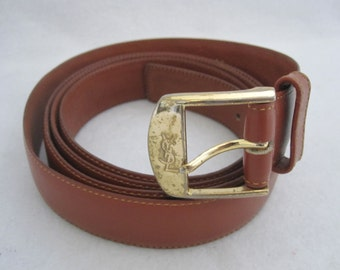 amazing YVES SAINT LAURENT vintage ysl brown leather belt in a size 60