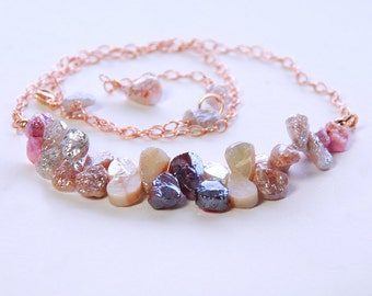 SALE Mystic Garnet, Hesonite, Moonstone, Pink Tourmaline Rose Gold Filled Delicate Necklace. Multi Color Mystic Gemstone Choker by Agusha