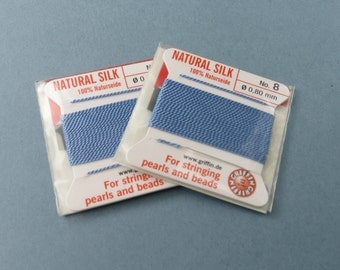 Natural Silk Cord With Needle - 2 packs - Size 8 - Medium Blue