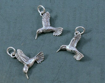 Sterling Silver Hummingbird Charm - 19x21mm - Sold Per Piece - CR3/HGB