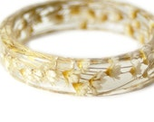 Bracelet -Flower Jewelry- Real Flower Bangle- Real Flower Resin Jewelry - Jewelry made with Flowers- White Flower Bracelet