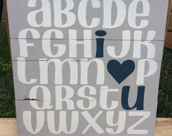 12 x 12 ABC I love you (*in stock)
