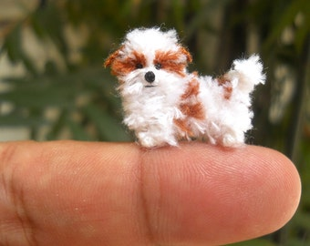 Miniature Shi Tzu - Tiny Crochet Miniature Dog Stuffed Animals - Made To Order