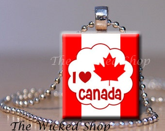 Scrabble Tile Pendant - Canada Day - I Love Canada -  Free Silver Plated Ball Chain (CD1)