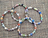 6mm Semiprecious Stone Colorful Elastic Bracelet Choose 1