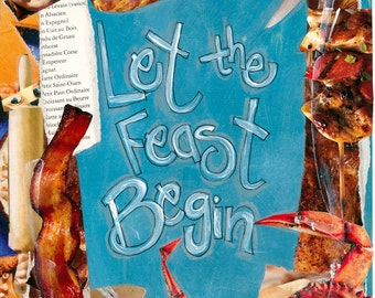 Thanksgiving Card LET The FEAST BEGIN, Thanksgiving Invitation,Crab Fest Card, Mixed Media Card, Greeting Card, by Seattle Artist Mary Klump
