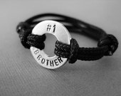 Boys Bracelet, No.1 Brother, Stamped Boys Bracelet, with adjustable Paraline cord