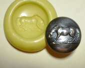 Antique button mold- flexible silicone push mold, Horse, PMC, Art Clay Silver, fimo, Sculpey, jewelry mold B10